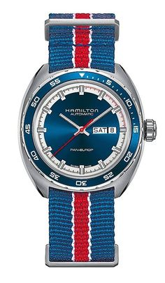 Hamilton Pan-Europ Day-Date - shown with blue unidirectional rotating aluminum bezel, blue dial and textile NATO strap.