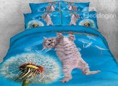 Onlwe 3D Kitten and Dandelion Printed 4-Piece Bedding Sets/Duvet Covers