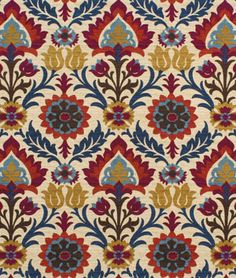 Waverly Santa Maria Gem Fabric - $19.45 | onlinefabricstore.net  (This one has the red & the purple. Would that work for drapes in the LR?)