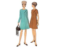 60s MOD PLUS SIZE Dress Pattern Vogue 7611 by allthepreciousthings, $14.00