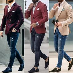 Mens outfit with jeans shirt, parka and watch Blazer Outfits Men, Mens Fashion Blazer, Mens Fashion Wear, Suit Fashion, Fashion Hair, Mens Casual Suits, Stylish Mens Outfits, Casual Outfits, Mens Suits Style