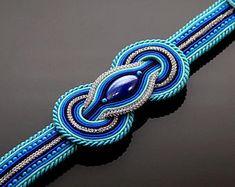 Sapphire silver turquoise Soutache bracelet.