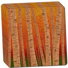 "Amazon.com: Custom & Cool {4"" Inches} Set Pack of 4 Square ""Grip Texture"" Drink Cup Coaster Made of Cork w/ Cork Bottom & Forest of Birch Trees in Autumn Forest Scene Design [Red, Orange, Green & Brown Colors]: Home & Kitchen"