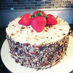 "8"" Gluten-Free Italian Cream Cake w/Cream Cheese Frosting, Topped w/Chopped Pecans & Fresh Strawberries by Twist of Sunshine Designs"