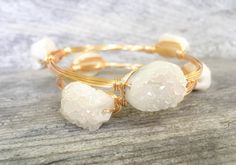 White Cream Chunky Druzy Wire Wrapped Bangle, Druzy Bangle, White Druzy by SouthernWire on Etsy https://www.etsy.com/listing/211826806/white-cream-chunky-druzy-wire-wrapped