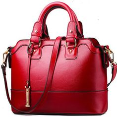 Women's Classic Red Shoulder Bag Lady Simple Leather Top Handle Tote Boston Handbag - http://leather-handbags-shop.com/womens-classic-red-shoulder-bag-lady-simple-leather-top-handle-tote-boston-handbag/