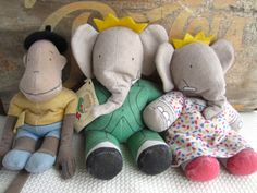 Vintage 1989 Babar Celeste and Zephir Dolls by The by corrnucopia, $35.00
