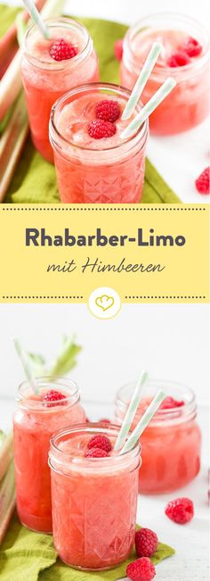Rhubarb lemonade with Rhabarber-Limonade mit Himbeeren A must for all rhubarb lovers: pour plenty of rhubarb, fresh raspberries, a little lemon and honey with water and start the summer refreshed. Smoothie Drinks, Healthy Smoothies, Healthy Drinks, Smoothie Mixer, Raspberry Rhubarb, Raspberry Lemonade, Rhubarb Rhubarb, Sparkling Lemonade, Cocktail Drinks