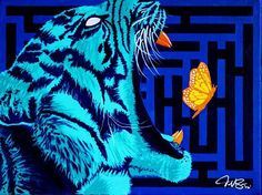 """""""The Chase""""  Been a minute since I've posted I created this piece late last year.  Rarely would we ever see these 2 interact.  But the chase is something we can all relate to. Wether you are chasing dreams, love or a better life.  In this painting the tiger might have waited too long to chase what he wanted,  a little time before, this same butterfly was crawling on the ground and would have been easily caught.  Now the butterfly has evolved and sprouted wings and is able to fly high above…"""