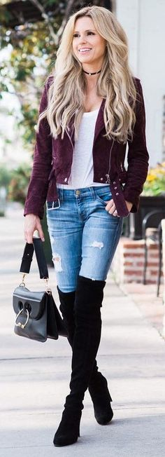 #winter #fashion / Purple Jacket / White Top / Ripped Skinny Jeans / Black OTK Boots / Black Leather Tote