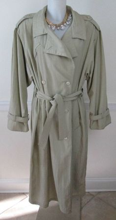 Vtg 80s Light Brown Fleet Street Trench Raincoat Jacket Size 12 #FleetStreet #Raincoat