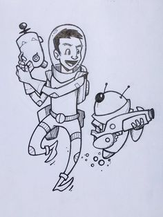 "Steve Armstrong on Twitter: """"I have your back sir!"" #astronaut #spaceman #robot #backup #scifi #space #drawing #doodle #sketch https://t.co/S6BSi5AyD5"""