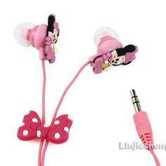 Minnie Mouse Cute Cartoon Funny Headphones Earphone Earbuds 3.5mm In-Ear Mp3 Mp4