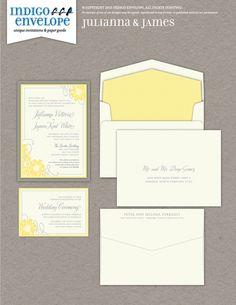 This is a retro feeling wedding invitation design with floral embellishments. #botanicalwedding #indigoenvelope