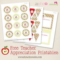 FREE Teacher Appreciation printables! Includes: a pennant banner, cards, circle labels, all with adorable little apples!