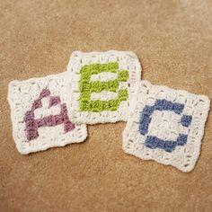 Crochet Blankets Design Owl In Stitches: Alphabet Baby Blanket - Free Crochet Pattern Crochet Letters Pattern, Crochet Alphabet, Crochet Flower Patterns, Crochet Blanket Patterns, Crochet Designs, Crochet Flowers, Crochet Blankets, Baby Blankets, Crochet Ideas