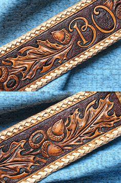 Dog collar personalized Oak Leaves  Acorns leather