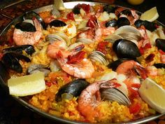 Romantic meal for two: mixed seafood paella