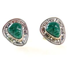 Mexican Mask Sterling Cufflinks Signed JV