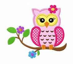 Instant Download Flower Owl On Branch Applique Machine Embroidery Design NO:1330 op Etsy, 2,26€