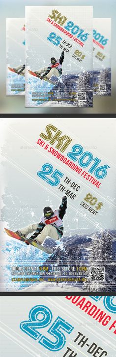Skiing Season Snowboard Flyer Template PSD #design Download: http://graphicriver.net/item/skiing-season-flyer-template/13469830?ref=ksioks