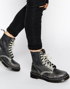 Image 1 of Dr Martens Core Pascal Black/White 8 Eye Ankle Boots