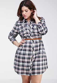 Tartan Plaid Shirt Dress | FOREVER21 PLUS - 2000096849