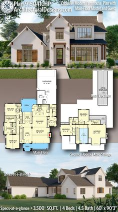 House Plan 915041CHP gives you 3,500  square feet of living space with 4 bedrooms and 4.5 baths. AD House Plan #915041CHP #adhouseplans #architecturaldesigns #houseplans #homeplans #floorplans #homeplan #floorplan #floorplans #houseplan #farmhousestyle #farmhouse #farmhouseplans #peakproperties #modernfarmhouseplan #modernfarmhousefloorplans #modernfarmhousedesign #4bedrooms