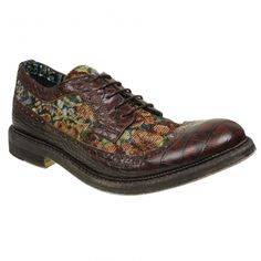 This brown leather brouge shoe is detailed with a tapestry styled fabric panel. Irregular Choice, Man Vs, Modern Times, Classic Man, Wedding Dreams, Brogues, Hiking Boots, Men's Shoes, Brown Leather