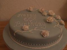 blue fondant cake with white flowers White Flowers, Wedding Anniversary, Fondant, Cake, Desserts, Food, Marriage Anniversary, Tailgate Desserts, Deserts