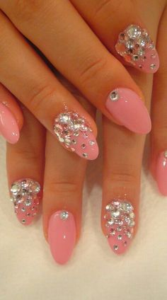 Pink nails with stones