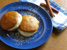 Welcome fall with homemade pumpkin whoopie pies. Cinnamon, nutmeg, and cloves in the batter perfectly complement the rich cream cheese filling.