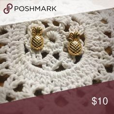Gold Pineapple Earrings! NWOT! Never Worn! Extra extra trendy!  Gold Pineapple Earrings! Perfect earring for any outfit! This trendy accessory will complete any look! Jewelry Earrings