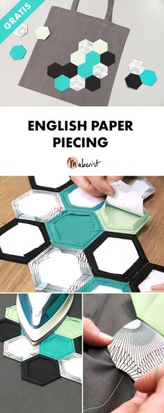 Patchwork: So geht English Paper Piecing – Anleitung via Makerist.de Patchwork: How to do English Paper Piecing – Tutorial via Makerist. Patchwork Tutorial, English Paper Piecing, Sewing Art, Hand Sewing, Black Pvc Pipe, Ribbon Yarn, Hexagon Quilt, Origami Tutorial, Patchwork Bags