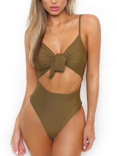 47aa233c41 Women Bandage One Piece Monokini Bikini Push Up Padded Tie-Bow Swimwear  Swimsuit - Walmart.com