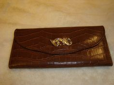 Nice Brown Faux Crocodile Leather Wallet Clutch W/Coin Purse #Clutch