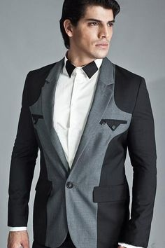 Latest Coat Pant Designs Black And Grey Panelled Formal Wedding Suits For Men Custom 2 Pieces Groom Slim Fit Blazer Masculino 54