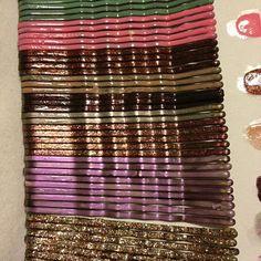 Nail polish painted bobby pins. ( I have plenty of nail polish to make this possible!)