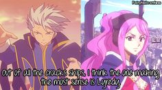Head cannon: Since Ultears gone and we don't really know her and Jellals bond she goes to Lamia Scale and joins them where Lyon falls in love with her like he did with Juvia 🙊🙉😬 // Fairy Tail Story, Fairy Tales, Lyon Vastia, Devil Part Timer, Fairy Tail Photos, Fariy Tail, Fairy Tail Guild, Fairy Tail Couples, Fairy Tail Ships