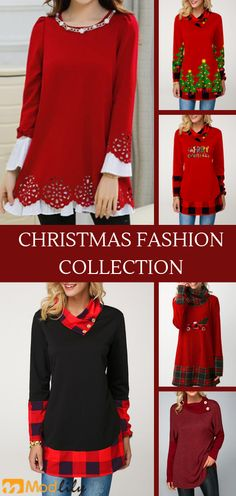 Red trendy tops for women online on sale Holiday Outfits Women, Summer Outfits Women, Pretty Outfits, Cool Outfits, Casual Outfits, Christmas Fashion, Christmas Tops, Xmas, Fashion Top