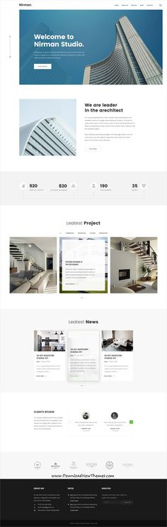 Nirman is clean and modern design #PSD #template for #architecture agency website with 14 layered PSD files to download & live preview click on image or Visit #webdesign