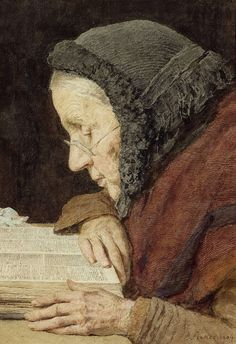 Albert Anker Elderly Woman Reading the Bible 1904 by Plum leaves,