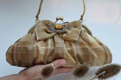 Gold Plaid Clutch Purse, Scottish Gala Purse with Vintage Brooch (Lily D.) - www.etsy.com/shop/vireocollection