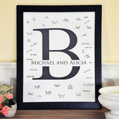 Initial Canvas Signature Guest Book | Wedding Guest Book