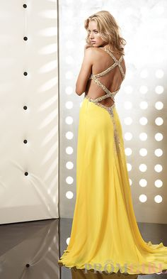 Yellow Open Back Formal Dress JZ-4365y