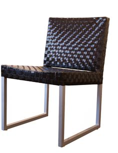 Woven Patent Leather Side Chair on Chairish.com