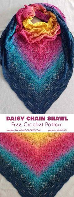 Crochet shawl 306315212152678980 - Daisy Chain Shawl Free Crochet Pattern Source by veroniikkaa Poncho Au Crochet, Crochet Shawls And Wraps, Knitted Shawls, Crochet Scarves, Crochet Clothes, Crochet Stitches, Free Crochet, Knit Crochet, Crochet Hats