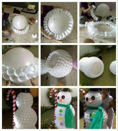 Snow man out of plastic cups.                                                                                                                                                                                 More
