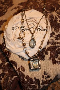 One of a Kind soldered Necklace, all vintage pieces, and soldered stones