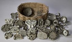 Basket of Figural Antique Tin Cookie Cutters, - Cowans Auctions
